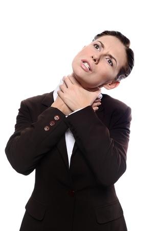 choke: Secretary or business woman choking herself. Isolated on white background Stock Photo