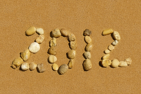 2012 inscription on the golden sand beach Stock Photo - 14254660