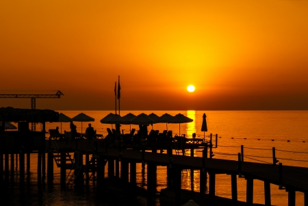 Pier Resort Silhouette at the Sunrise over sea Stock Photo - 17915955