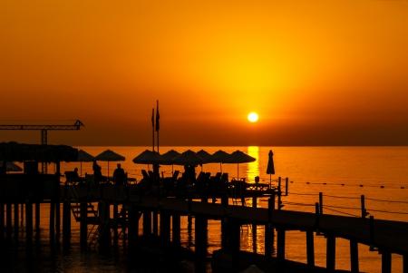 Pier Resort Silhouette at the Sunrise over sea Stock Photo - 17915955