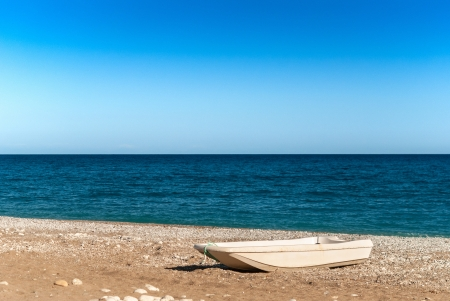 Boat on the beach with sea background Stock Photo - 17915988