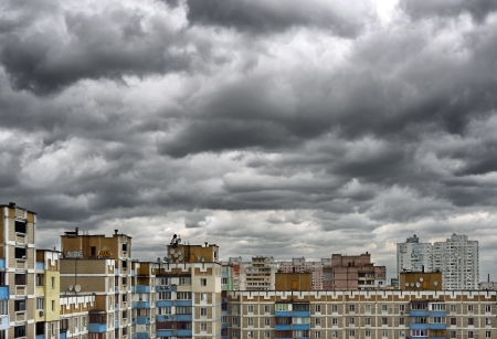 Dramatic cumulonimbus stormy clouds over cityscape  Kiev, Ukraine Editorial