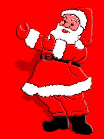 Santa Claus pointing to something.A message could b placed there photo