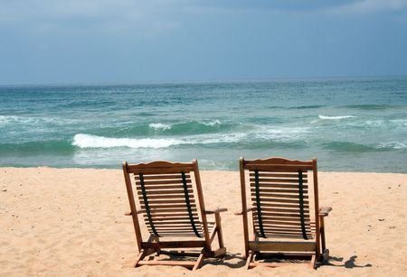 Two Chair at the beach (with space for text)