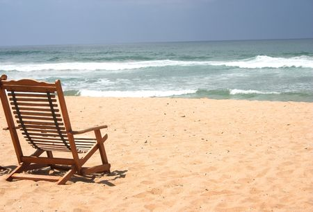 Chair at the beach (with space for text)