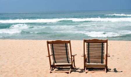 Two Chair at the beach (with space for text) Stock Photo - 371627