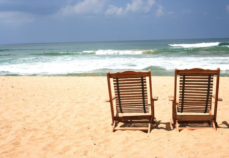 two chairs: Two Chairs at the beach (with space for text) Stock Photo