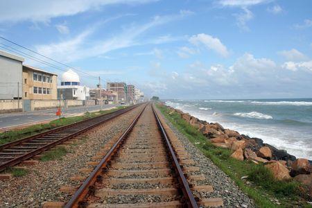 railway track , Blue sky and the sea Stock Photo - 430964