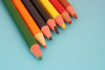 Row, of, colorful, wooden, crayons Sharpening, colored, pencils photo