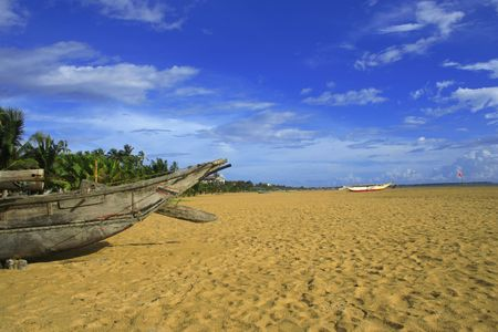 tropical beach with palm tree & boats Stock Photo - 962612