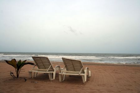 chairs on tropical beach in Negambo, Sri Lanka. photo