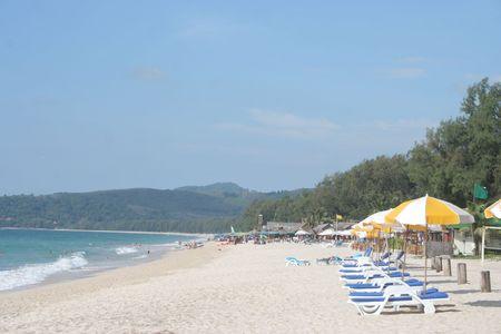 Colourful Umbrellas on Resort Beach, Phuket, Thailand Stock Photo