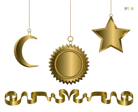 Realistic Holiday Golden Toys on a chain Isolated on White Background. Moon, Star and Sun. Vector illustration