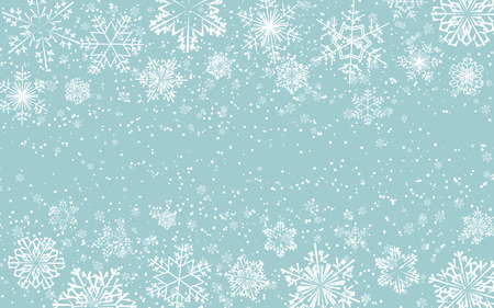 Winter blue background with snowflakes. Great for New year party posters, headers. Vector illustration. Xmas card Çizim
