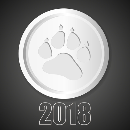 Dog paw with clutches sign icon. Pets symbol. Vector Dog paw in circle. Symbol of 2018 Ilustrace