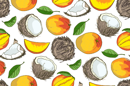 Vector seamless composition with coconut, mango. Perfect for wallpapers, web page backgrounds, surface textures, textile.