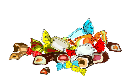 Sweets in colorful wrappers and chopped chocolate with jelly and cream filling. Vector illustration