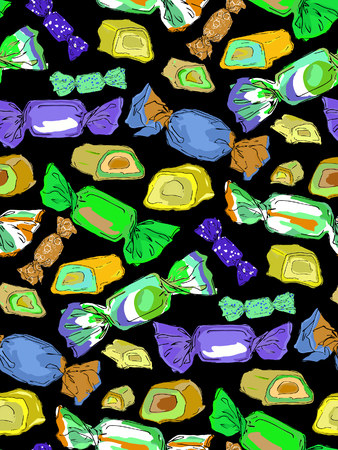 Seamless pattern of colorful wrapped chocolates and  sliced chocolate candy stuffedon on a black background. Vector illustration Illustration