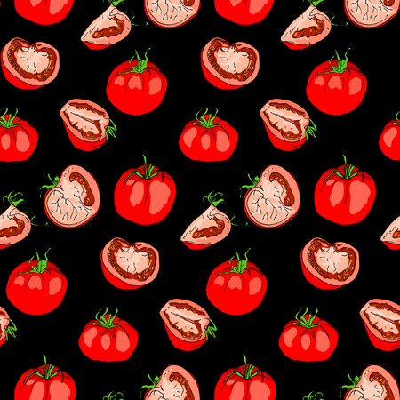 Tomato seamless pattern. Vegetable background. Isolated tomato whole and sliced pieces. Vector illustration