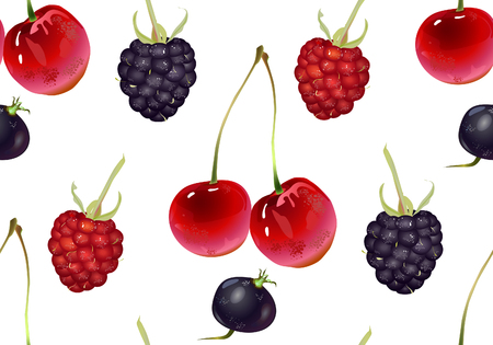 Vector seamless pattern of berries.. Background design for tea, ice cream, natural cosmetics, candy and bakery with berry filling, health care products. Best for Fabrics , wrapping paper. Ilustração
