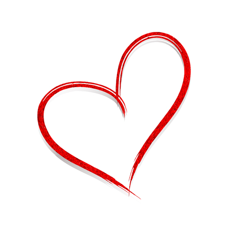 The red heart is drawn by hand. Valentine`s hearts. Vector design element. 矢量图像