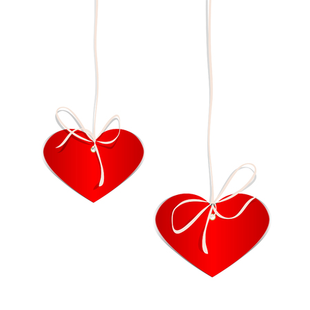 Red hearts from a cardboard hang on a tape. Valentines Day. Vector illustration Illustration