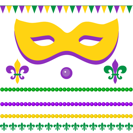 Mardi gras greetings with mask, flags, beads, fleur de fox on white background. Elements for your design