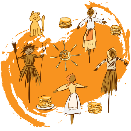 Shrovetide or Maslenitsa. Wide Pancake week. Postcard with traditional symbols: scarecrow winter, pancakes, sun. Vector illustration on white background.
