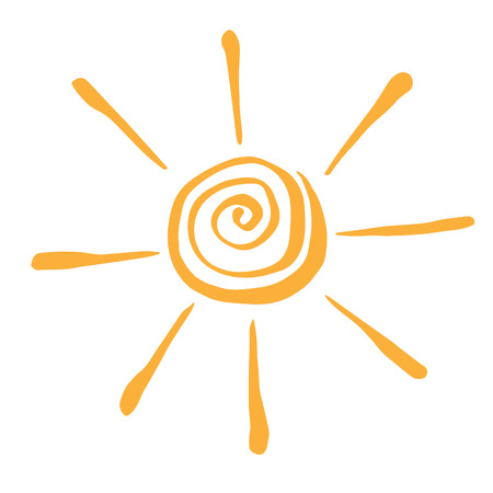 Yellow Stylized Sun in Inky Painted.  Vector illustration for magazine, poster, book cover, banner, flyer, booklet. Illustration