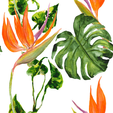 Watercolor exotic tropical pattern with green leaves and bird of paradise flower (strelitzia). Seamless background. Bright and colorful design element. Summer (holiday) mood