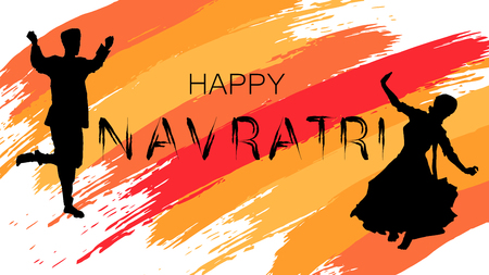 Ilustration of couple playing Dandiya in disco Garba Night poster for Navratri Dussehra festival of India