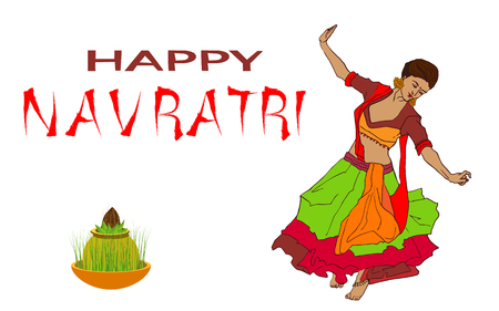 Illustration of couple playing Dandiya in disco Garba Night poster for Navratri Dussehra festival of India Illustration