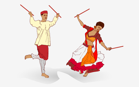 illustration of couple playing Dandiya in disco Garba Night poster for Navratri Dussehra festival of India.
