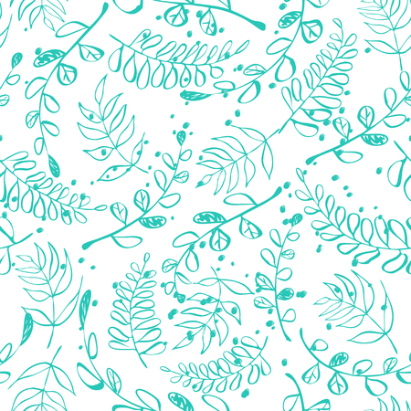 Seamless pattern with painted leaves and splashes. Vector illustration