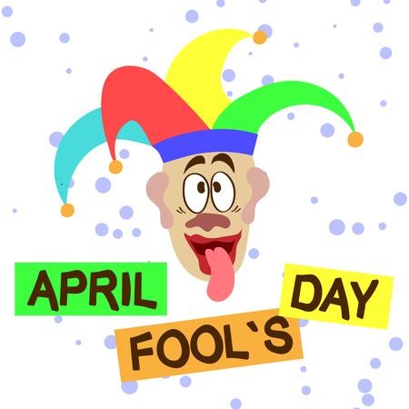 April Fools Day, illustration of clown with round confetti.
