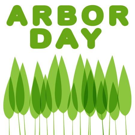 Arbor Day in green lettering with green leaves vector illustration.