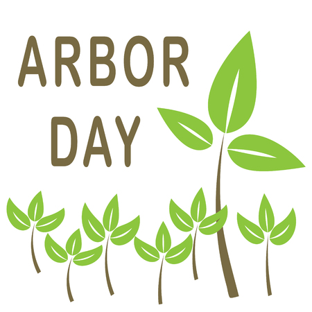Arbor Day in brown lettering with tree saplings vector illustration.