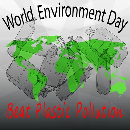 World Environment Day vector illustration. Beat Plastic Pollution.