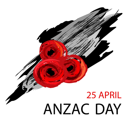 Anzac day background with red abstract poppies.  Vector illustration