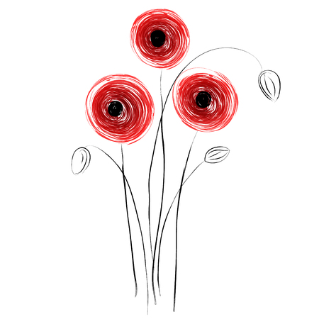 Abstract red poppies on a white background.  Vector illustration Иллюстрация