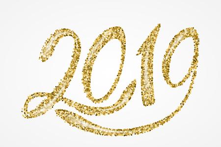 2019 New Year. Hand written lettering. Happy Holidays card design. Vector illustration Illustration