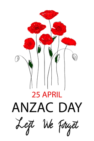 Anzac day background with red abstract poppies.  Vector illustration 免版税图像 - 100016335