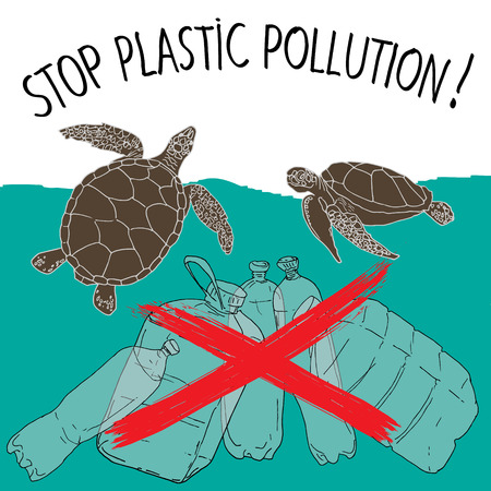 World Turtle Day. Stop plastic pollution. Vector illustration. Stock Illustratie