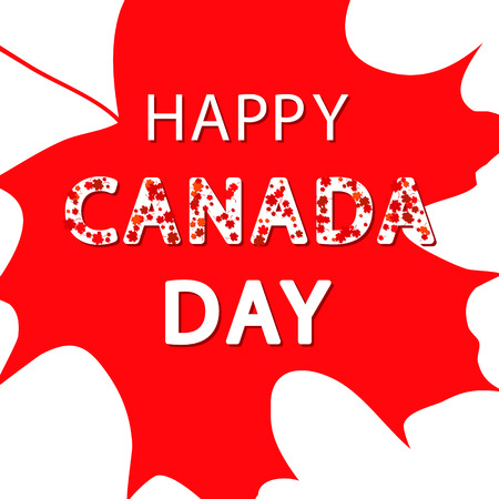 Canada Day background with maple leaves and text in red. Vector illustration