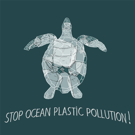 Stop ocean plastic pollution vector illustration