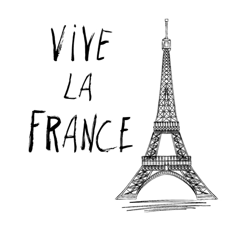 Vive la France hand drawn lettering design vector illustration. 14 th of July. Happy Bastille Day. Creative Vector illustration, card, banner or poster for the French National Day