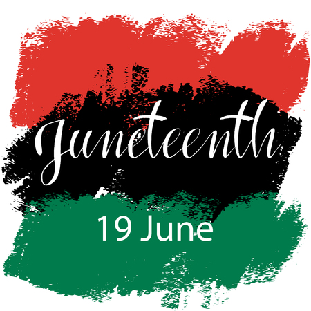 Juneteenth  Freedom Day. African-American Independence Day, June 19. The concept of a national holiday.Pan-african flag drawn with brush in grunge style. Vector illustration Illustration