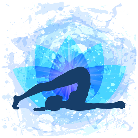 International Yoga Day June 21. Illustration of woman doing asana. Vector illustration Illustration