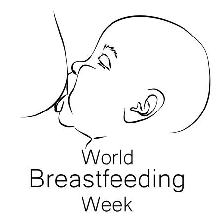 World Breastfeeding Day Design. A baby sucks mothers milk. Vector illustration