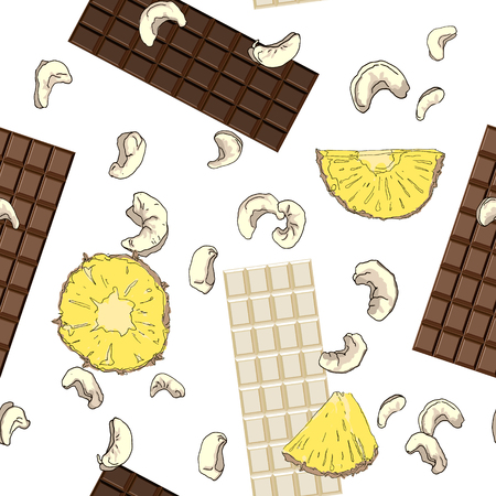 Seamless pattern with chocolate bars, pieces of pineapple and cashew nuts. Vector illustration Ilustração
